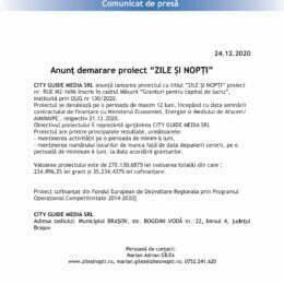 """Anunț demarare proiect """"ZILE ȘI NOPȚI"""""""