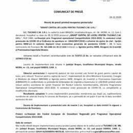"""Anunț de presă privind inceperea proiectului """"GRANT CAPITAL DE LUCRU PENTRU TUCANO C.M. S.R.L."""""""