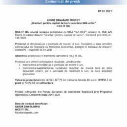 """ANUNȚ DEMARARE PROIECT """"Granturi pentru capital de lucru acordate IMM-urilor"""" HICE-IT SRL"""