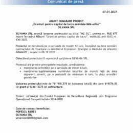 """ANUNȚ DEMARARE PROIECT """"Granturi pentru capital de lucru acordate IMM-urilor"""" SILVANIA SRL"""
