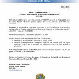 """ANUNȚ DEMARARE PROIECT: """"Granturi pentru capital de lucru acordate IMM-urilor"""" HCR SRL"""
