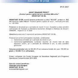"""ANUNȚ DEMARARE PROIECT """"Granturi pentru capital de lucru acordate IMM-urilor"""" KRONSTADT 3D SRL"""