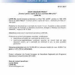 """ANUNȚ DEMARARE PROIECT """"Granturi pentru capital de lucru acordate IMM-urilor"""" LUVIR SRL"""