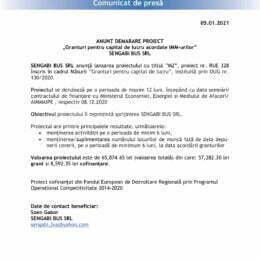 """ANUNȚ DEMARARE PROIECT """"Granturi pentru capital de lucru acordate IMM-urilor"""" SENGABI BUS SRL"""