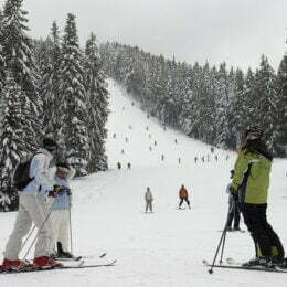 Skiers are seen on a slope at the mountain resort of Bansko, some 200 km (124 miles) south of the capital Sofia, January 31, 2009. For years, Bulgarian sports officials dreamed of getting back on the Alpine ski World Cup calendar. Weather problems elsewhere mean they suddenly find themselves hosting two downhills, plus a super-G, next weekend. Picture taken January 21.       To match feature ALPINE-SKIING/BULGARIA    REUTERS/Yulia Lazarova (BULGARIA)