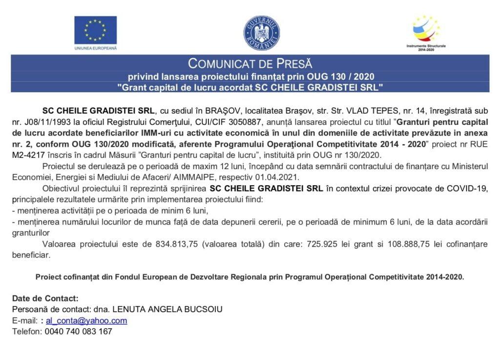 """COMUNICAT DE PRESĂ privind lansarea proiectului finanțat prin OUG 130 / 2020 """"Grant capital de lucru acordat SC CHEILE GRADISTEI SRL"""""""