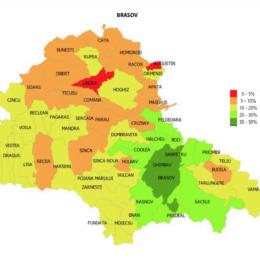 Care este acoperirea vaccinală împotriva COVID-19 în fiecare localitate din județul Brașov. Cel mai bine stau Sanpetrul și municipiul Brașov, iar la polul opus sunt comunele Augustin și Ungra