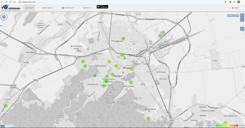 Harta monitorizare calitate aer Brașov
